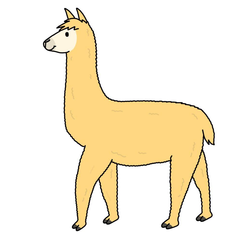 cartoon, drawing, image of fawn alpaca.  for fun