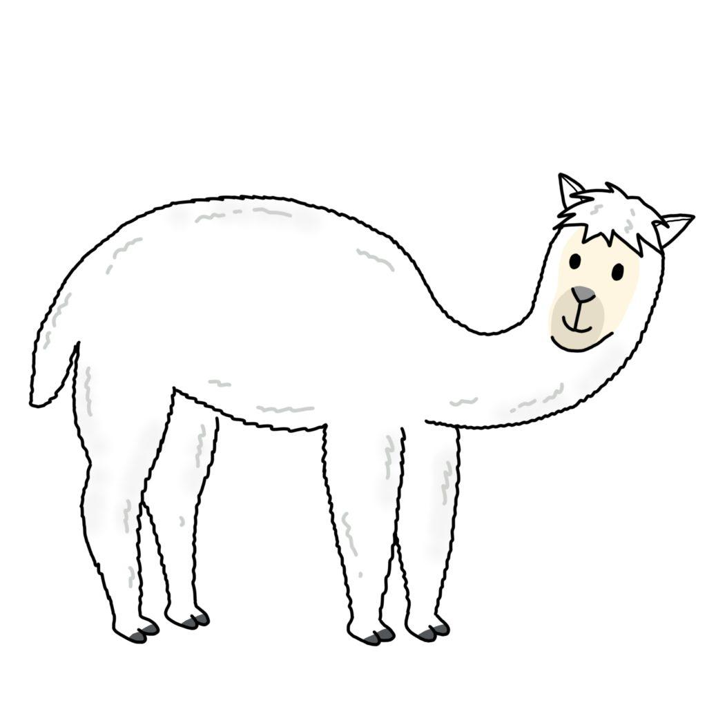 a cartoon, image, drawing of an alpaca